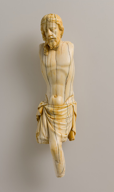 Crucified Christ, Elephant ivory, traces of polychromy, French