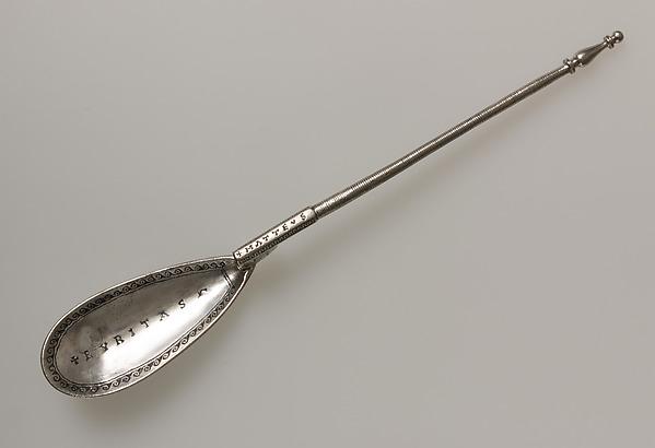 Silver Spoon, Silver, niello, traces of gilding, Byzantine