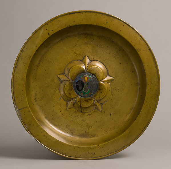 Plate, Brass, silver and translucent  enamel, South Netherlandish