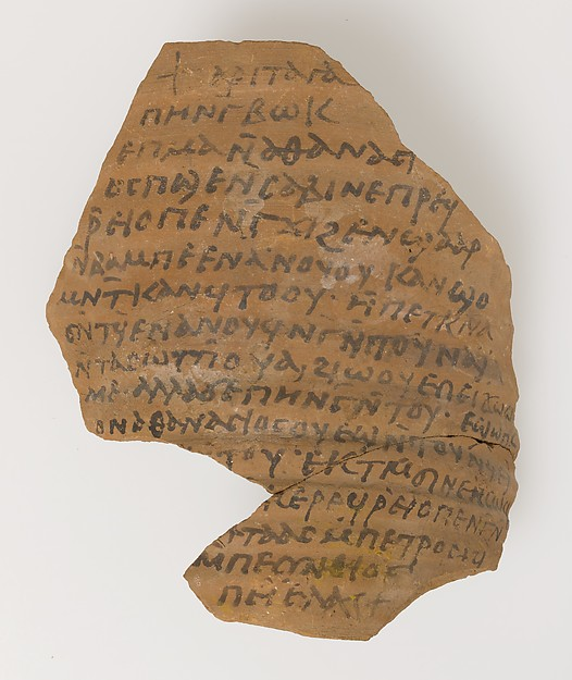 Ostrakon with a Letter from Pesynthius to Peter, Pottery fragment with ink inscription, Coptic