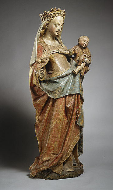 Virgin and Child with Bird, Limestone with polychromy, French