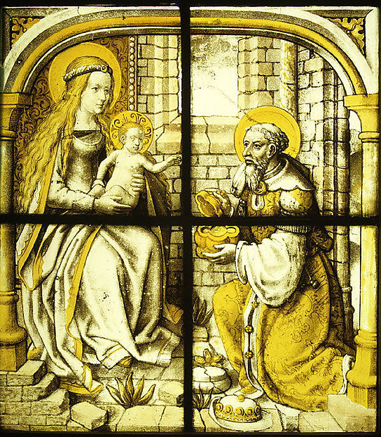 The Adoration of the Magi, Colorless glass, vitreous paint and silver stain, German