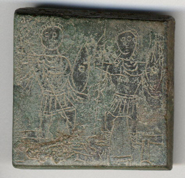 Balance Weight with Two Emperors Hunting a Snake, Copper alloy, Byzantine