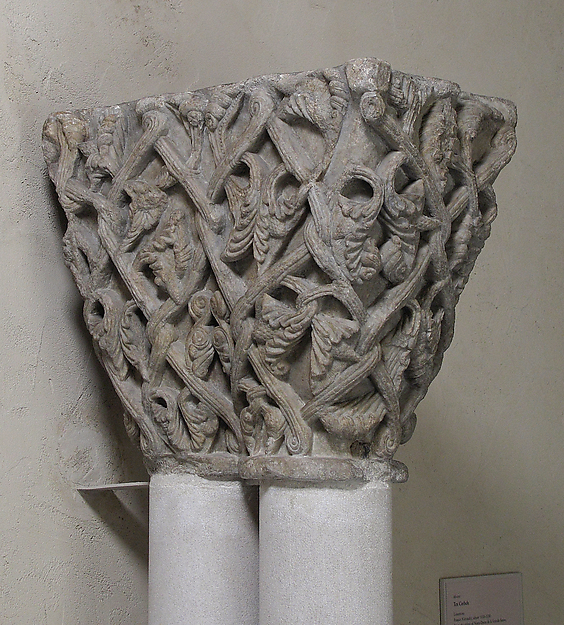 Double Capital with Vine Tendrils, Marble, French