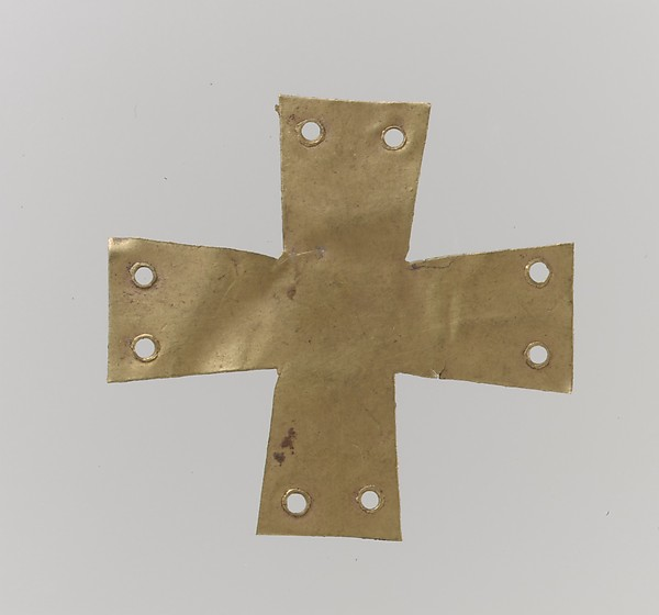 Gold Appliqué in the Form of a Cross, Gold, Langobardic