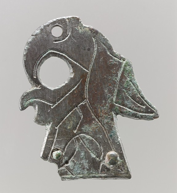 """Shield Mount in the Shape of Bird, Copper alloy, """"tinned"""" surface, Frankish"""
