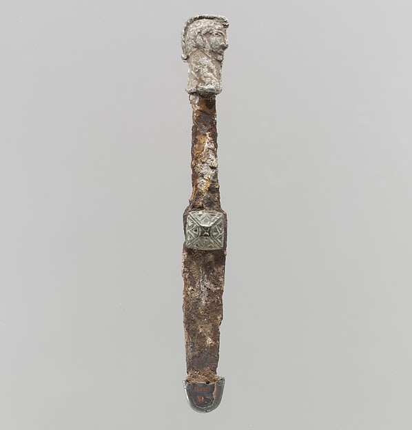 Dagger, Iron, copper alloy, silver, Late Roman