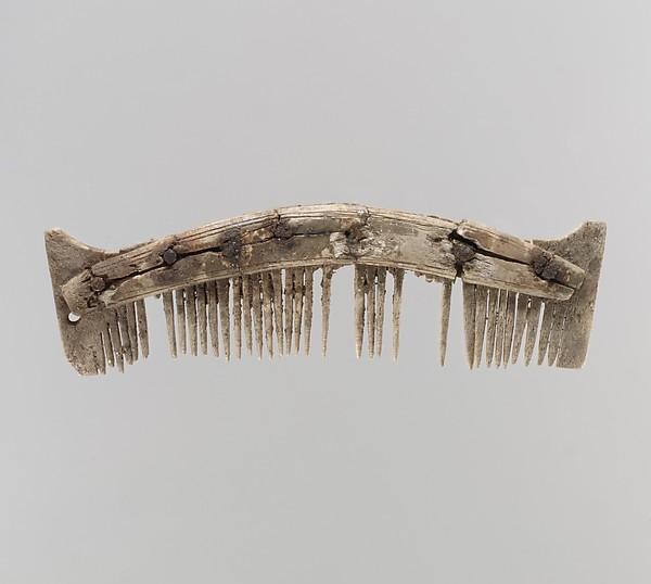 Comb, Bone, iron pins, Frankish