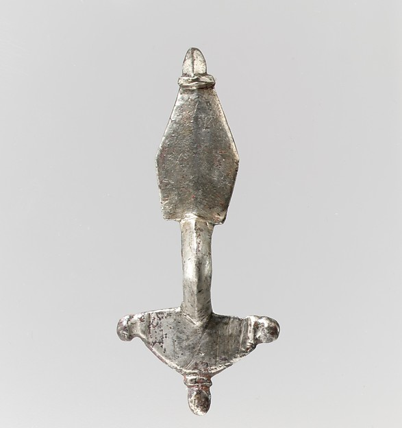 Bow Brooch, Silver - cast.  Pin: copper alloy., Ostrogothic