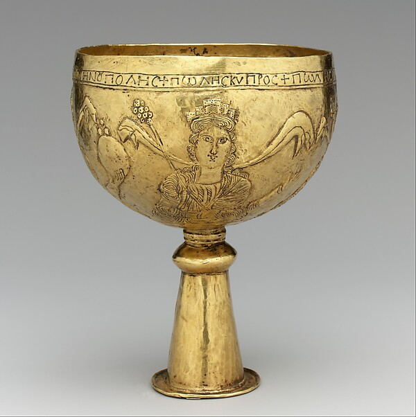 Gold Goblet with Personifications of Cyprus, Rome, Constantinople, and Alexandria, Gold, Avar or Byzantine