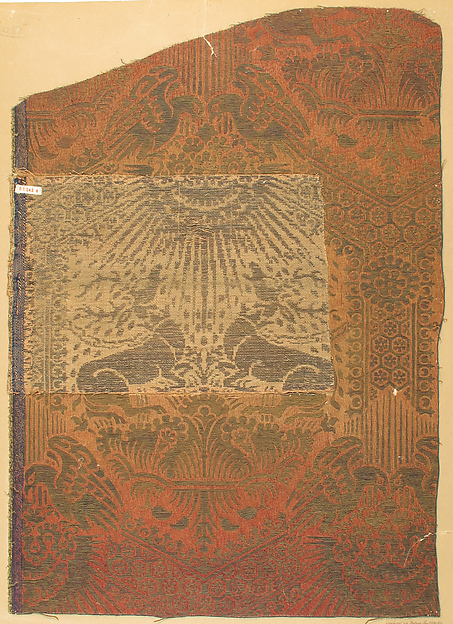 Brocade Textile, Silk, gold thread, Italian