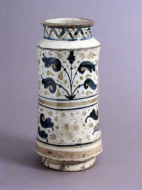 Pharmacy Jar, Earthenware, tin-glaze (lusterware), Spanish