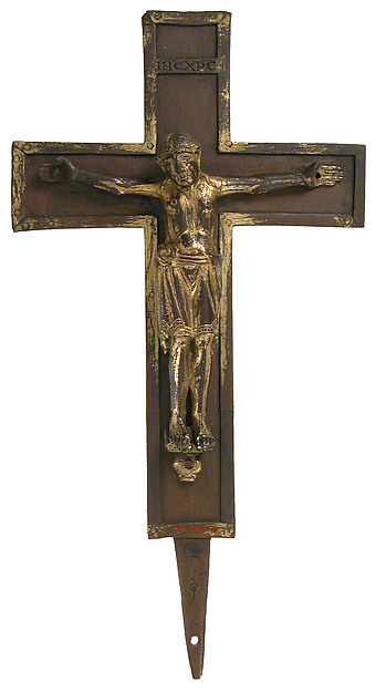 Crucifix, Copper alloy, gilding, German