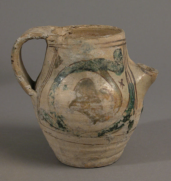 Pitcher, Earthenware, tin-glaze (Majolica), Italian