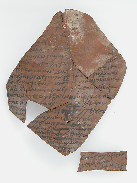 Ostrakon with a Letter from John, Pottery fragments with ink inscription, Coptic