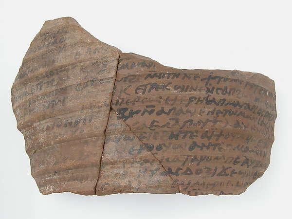 Ostrakon with a Letter from Thello, Pottery fragment with ink inscription, Coptic