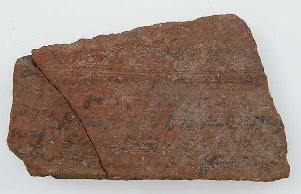Ostrakon with a Letter Referring to the Persian Occupation, Pottery fragment with ink inscription, Coptic