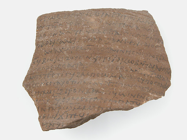 Ostrakon with a Letter Regarding the Will of Apa Victor, Pottery fragment with ink inscription, Coptic