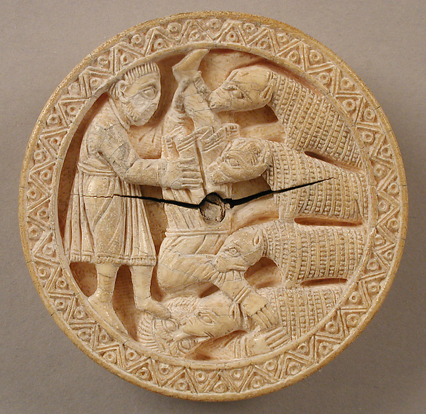 Game Piece with Hercules Throwing Diomedes to His Man-Eating Horses, Elephant ivory, German