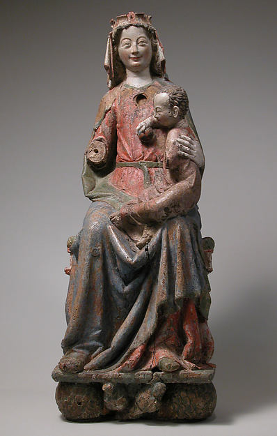 Enthroned Virgin and Child, Oak, with paint, German