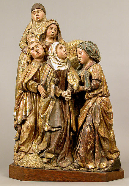 Virgin, Saint John, and Three Holy Women from a Crucifixion, Oak with polychromy and  gilding, South Netherlandish