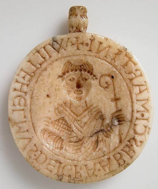 Seal Matrix with Abbot William of Gross St. Martin and Saint Martin, Walrus ivory, French