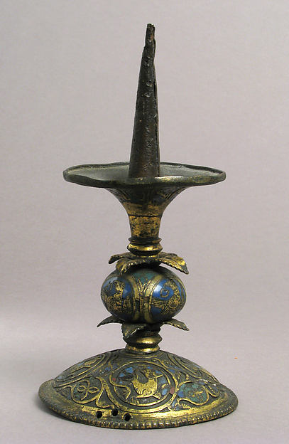 Pricket Candlestick with Birds, Vines, and Leaves, Champlevé enamel, copper-gilt, German