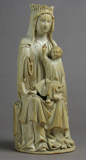Virgin and Child, Ivory, traces of polychromy, French