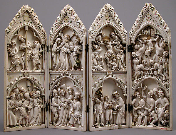 Polyptych with Scenes from Christ's Passion, Ivory, paint, and gilding  with metal mounts, French or German
