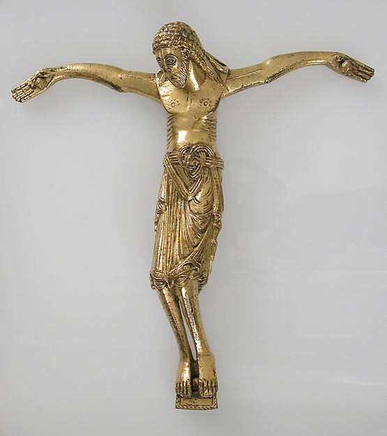 Crucified Christ, Copper alloy, gilt, German