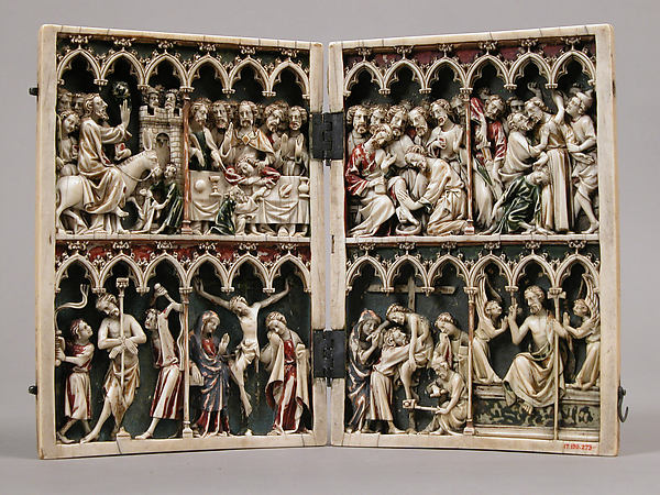 Diptych with Scenes from the Passion, Ivory with modern polychromy and metal mounts, French