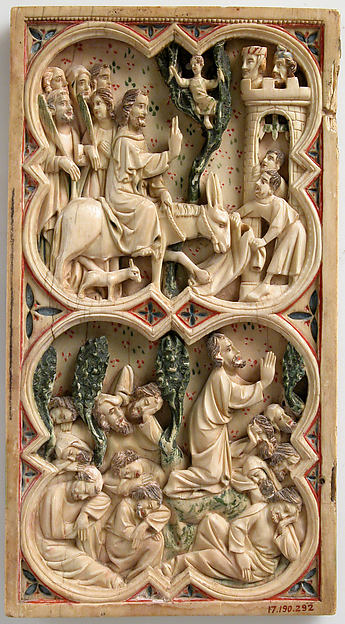 Painted Diptych, Ivory, polychromy, French or North Spanish
