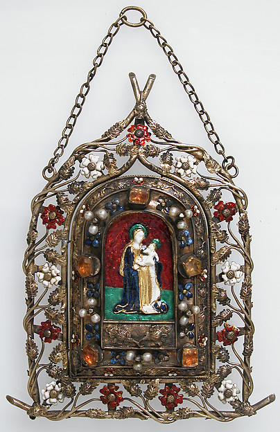 Portable Shrine, Silver, partial gilt, gold, Ronde Bosse enamels, pearls, glass cabachons, French