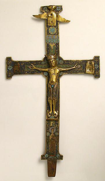 Crucifix, Champlevé enamel, copper-gilt, French
