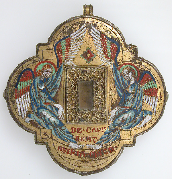 Reliquary, Champlevé enamel, copper-gilt, glass, German