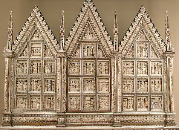 Altarpiece, Baldassare degli Embriachi (Italian, active 1390–1409), Bone framed with intarsia and horn, traces of paint and gilding, North Italian