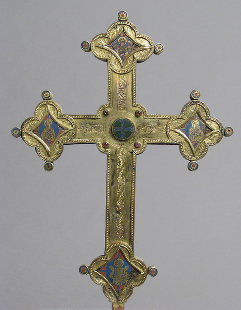 Cross, Gilt copper, champlevé enamel, glass and stone cabochons, Italian