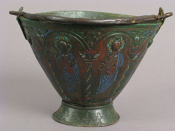 Situla (Bucket for Holy Water) with Saint Peter and Other Saints, Probably Apostles, Champlevé enamel, copper, iron. Ground probably once gilt., French