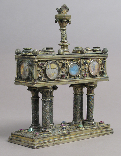 Reliquary, Silver, partial gilt, glass cabochons, champlevé enamel, gold glass, French