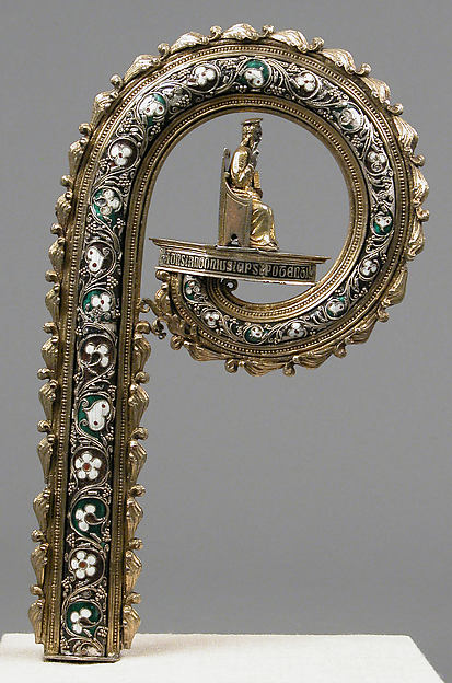 Crozier Head, Translucent enamels, silver, partial-gilt, niello, South Italian