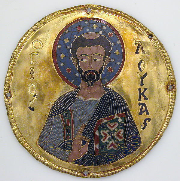 Medallion with Saint Luke from an Icon Frame, Gold, silver, and enamel worked in cloisonné, Byzantine