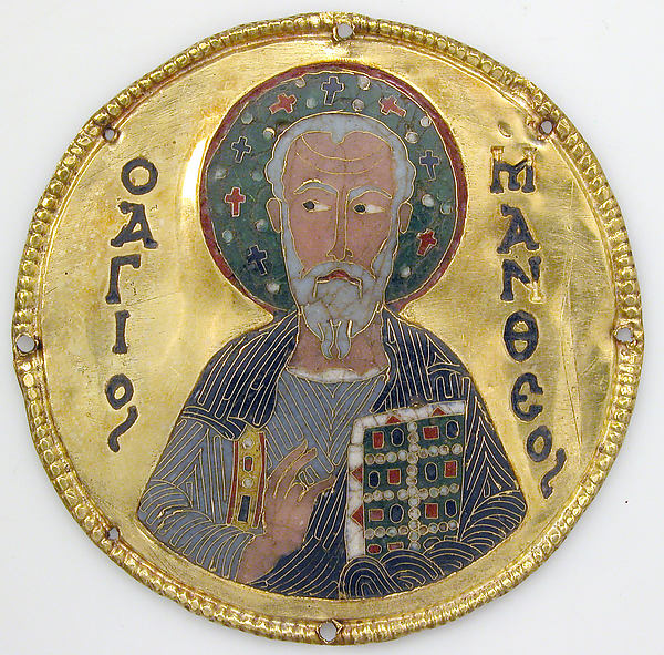 Medallion with Saint Matthew from an Icon Frame, Gold, silver, and enamel worked in cloisonné, Byzantine