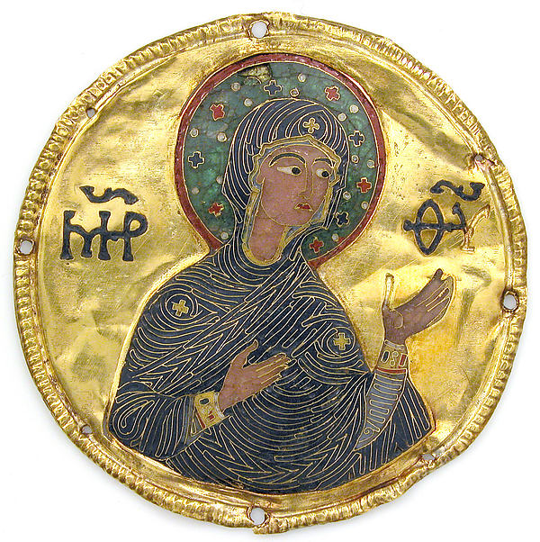 Medallion with the Virgin from an Icon Frame, Gold, silver, and enamel worked in cloisonné, Byzantine
