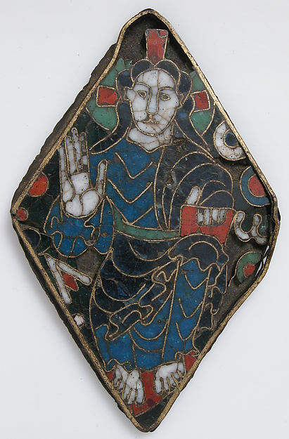 Plaque with Christ in Majesty, Cloisonné enamel on gilded copper alloy, South French