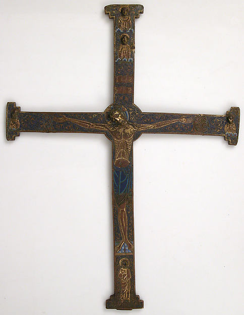 Cross, Copper: engraved, scraped, stippled and gilt; champlevé enamel: dark and medium blue, turquoise, dark and light green, red, and white; appliqué: engraved, chased and gilt, French