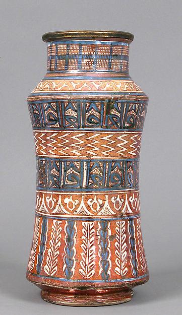 Pharmacy Jar, Tin-glazed earthenware, Spanish