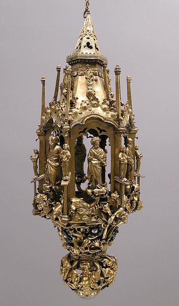Lamp or Censer, Gilt-copper alloy, silver, enamel en ronde bosse, rock crystal, North Italian