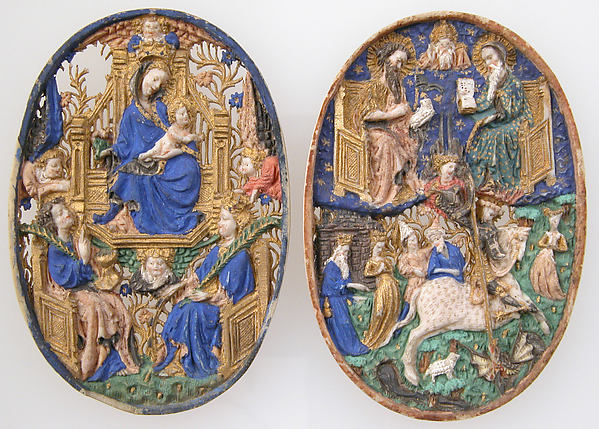 Two Medallions, Ivory, polychromy & gilding, (later mount: gilt silver and glass), French