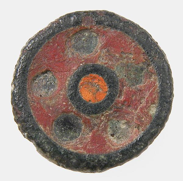 Flat Button, Champlevé enamel, copper alloy, Roman