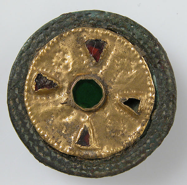 Disk Brooch, Gold on copper alloy, glass paste, Frankish